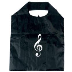Szatyor,mini bevásárló, fekete alapon fehér violinkulcs mintával