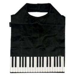 Szatyor, mini bevásárló, zongorabillentyű mintás, fekete