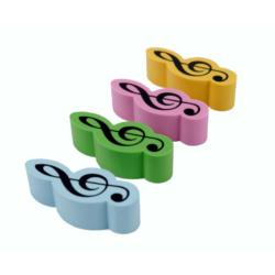 Radír, színes violinkulcs alakú
