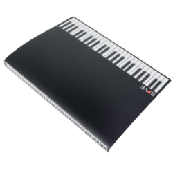 Mappa, fekete, zongorabillentyű mintával, 20 db lefűzhetőirattartóval