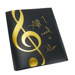 """Mappa, fekete, 20 db lefűzhető irattartóval, arany színű """"All I need is Music"""" felirattal és violinkulccsal"""