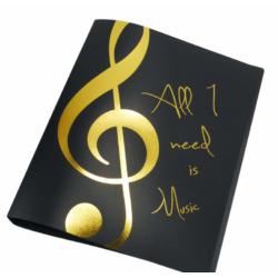 Mappa, két gyűrűs ''All I need is Music'' arany színű mintával