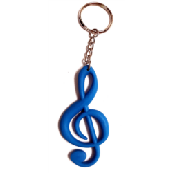 Kulcstartó, violinkulcs alakú kék, gumi 7,7 cm