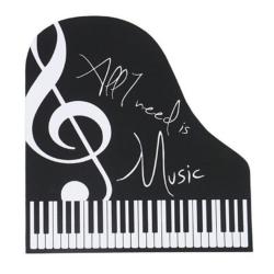 Egérpad, zongora alakú, fekete