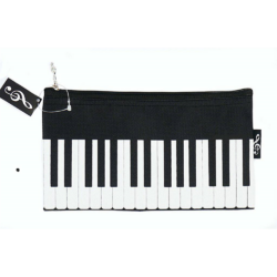 Ceruzatartó, neszeszer fekete színű, zongorabillentyű mintával