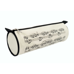 Ceruzatartó, henger alakú, krém vagy fekete színű, fekete hangjegyekkel 7,5x22 cm