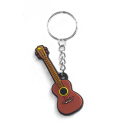 Kulcstartó barna ukulele kivitelben,