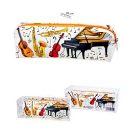 Tolltartó, fehér, színes hangszerek mintával