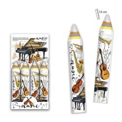 Radír, ceruza alakú, színes hangszerek mintával