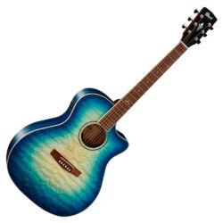 Akusztikus gitár elektronikával, kék burst