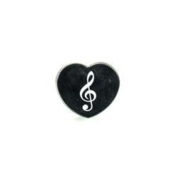 Hegyező, violinkulcs mintás, szív alakú