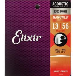 Akusztikus gitárhúrkészlet Elixir13-56 Medium NanoWeb 80/20 Bronze