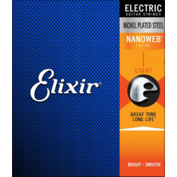 Elektromos gitárhúrkészlet Elixir 12-52  Light NanoWeb Nickel Plated Steel
