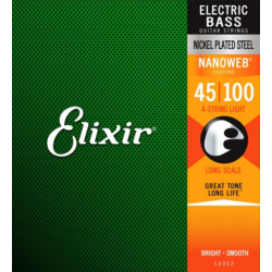 Basszusgitár húrkészlet Elixir 50 -105 médium Nanoweb nickel Plated Steel