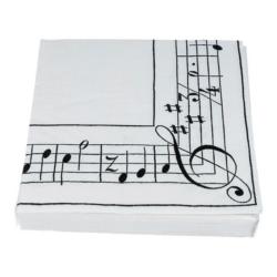 Szalvéta csomag fehér, violinkulcs és kottamintával, 20 darabos