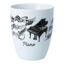 Bögre, fehér alapon, fekete zongora és kottamintával