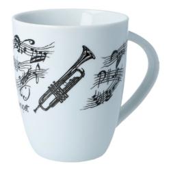 Bögre, fehér alapon, fekete trombita és kottamintával