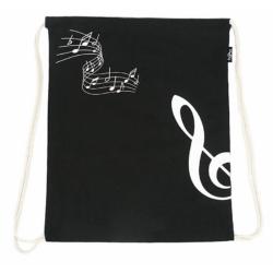 Tornazsák, zsinóros vászon , violinkulcsos, fekete