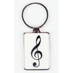 Kulcstartó fém, fehér-fekete, violinkulcs mintával
