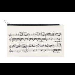 Ceruzatartó, neszeszer, krém színű, fekete hangjegyekkel 22x12,5 cm