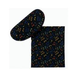 Napszemüveg tartó, fekete, színes violinkulcs mintás, mikroszálas törlőkendővel