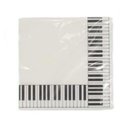 Szalvéta zongorabillentyű mintás, fehér 33x33 cm 20 db/csomag