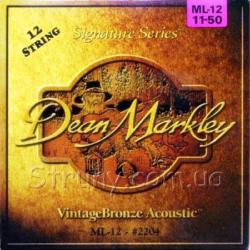 Akusztikus gitár húrkészlet Dean Markley 12 húros 11-52