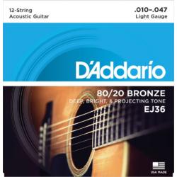 Akusztikus gitár húrkészlet12 húros D'addario 10-47