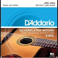 Akusztikus gitár húrkészlet D'Addario Gypsy Jazz Ball End Light 10-44