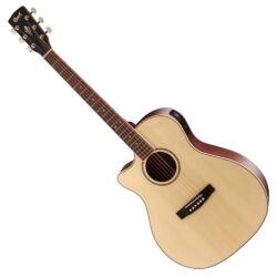 Cort akusztikus gitár elektronikával, balkezes, natúr